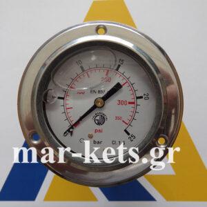 Αξονικό φλατζωτό μανόμετρο Γλυκερίνης  INOX